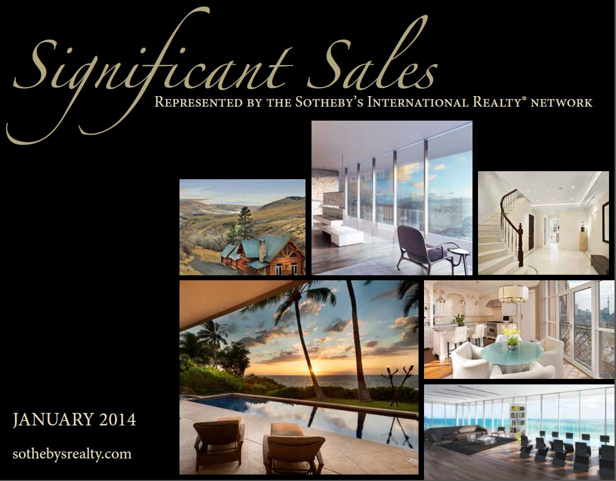January 2014 Significant Sales for Sotheby's International Realty