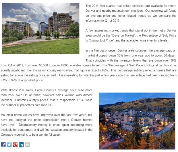 Colorado Real Estate Market Update for Q1 of 2014