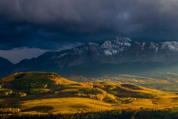 Mount Wilson, which sits above Telluride, shows off its fall colors. (The Denver Post | Provided by Colby Brown)